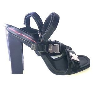 Prada black leather velcro strap sandals